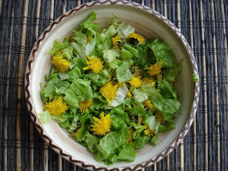Теплый салат с одуванчиком