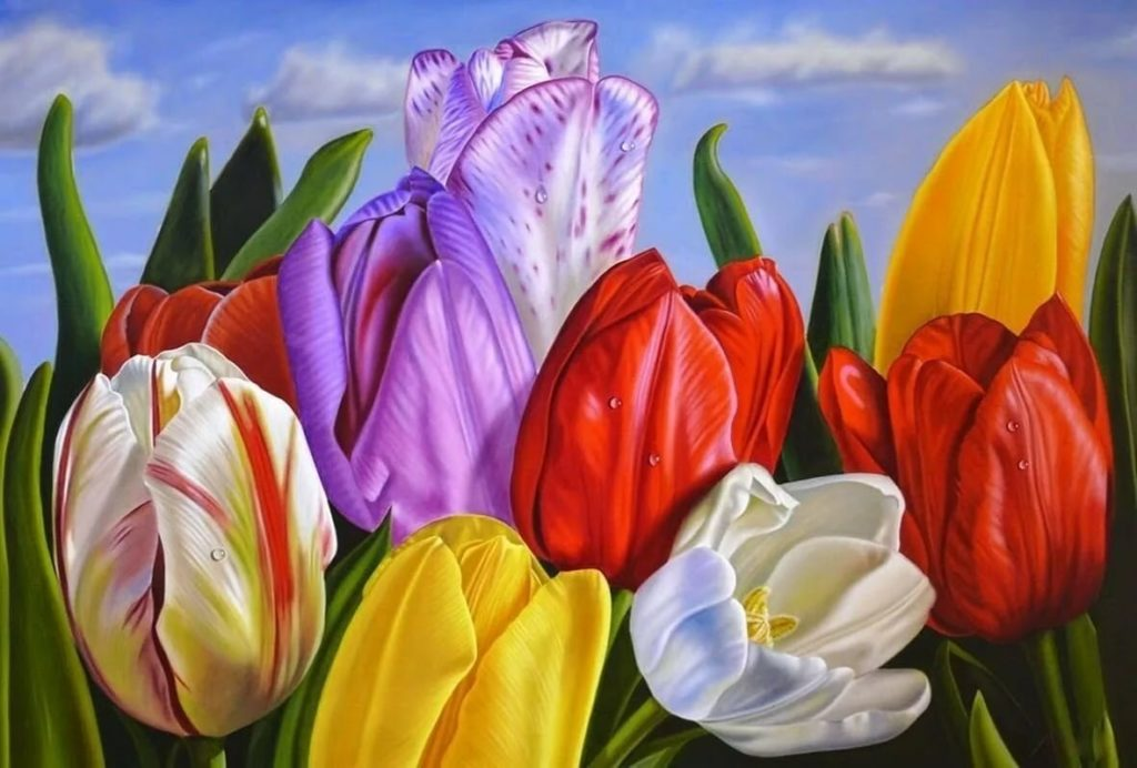 Тюльпаны на холсте купить картины